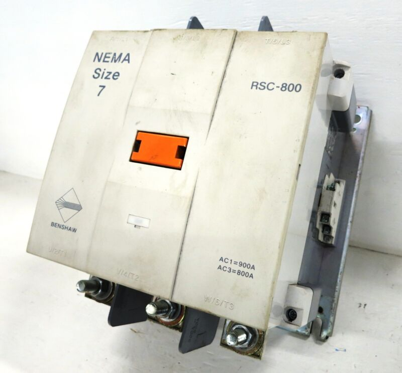 Benshaw RSC-800 Size 7 Magnetic Contactor 900 Amp 3PH 600 HP 120V Coil 800A Sz7