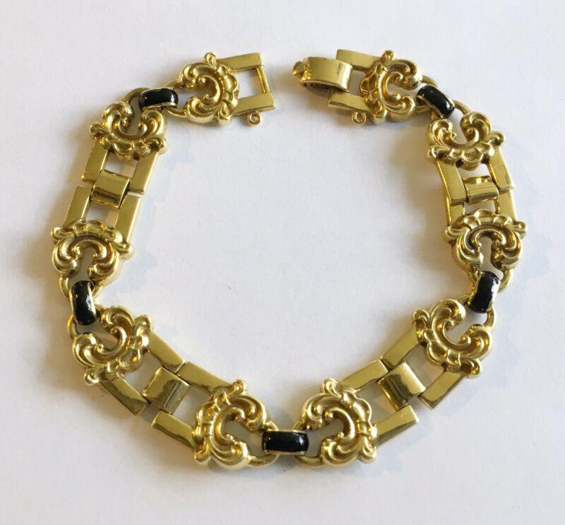 Antique Art Nouveau 18k Fancy Link Bracelet With Black Enamel