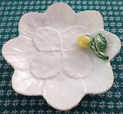 Vintage Bordallo Pinheiro Lemon Leaf White Dessert Plate Portugal