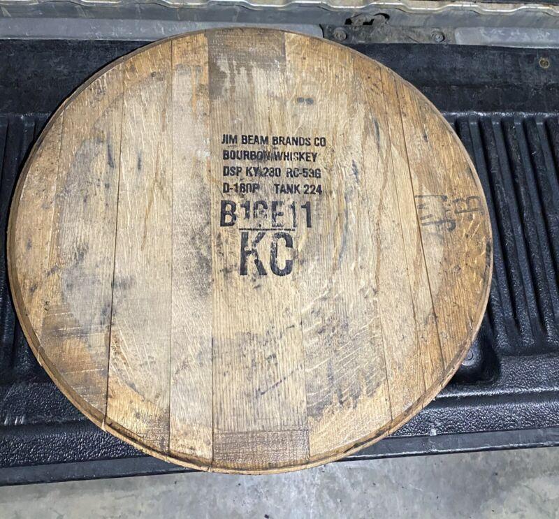 Jim Beam Bourbon  Whisky Barrel Head/Top/Lid/End Oak, AUTHENTIC distillery stamp