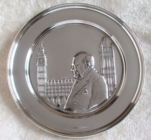 Vintage 925 Sterling Silver Winston Churchill Relief Plate Hour of Decision 1972