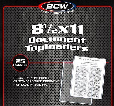 25 BCW 8.5X11 Rigid Topload Holder Photo Menu Page 8 1/2 x 11 Toploader