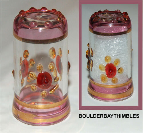 EGYPTIAN GLASS THIMBLE - HAND BLOWN PALE PINK & CLEAR & RELIEF DESIGN E01