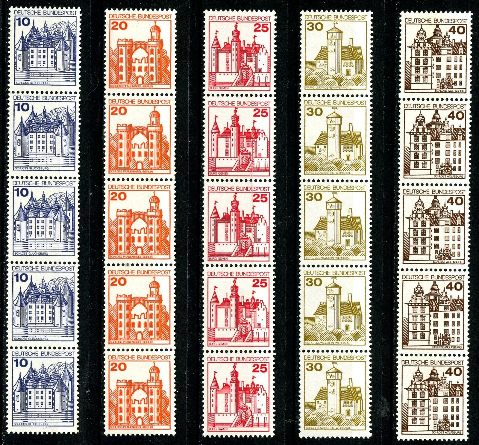 Castles 5 Coil Strips of 5 Matching Control Numbers MNH Scotts 1231 -1234 & 1309