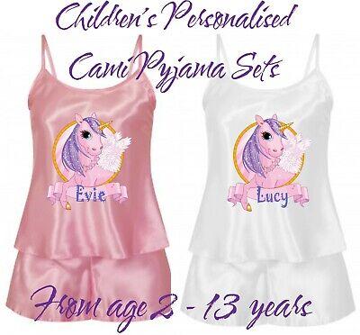 Personalisiert Kinder Cami Pyjama Shorts Nachtwäsche Set in 2 Farben Einhorn