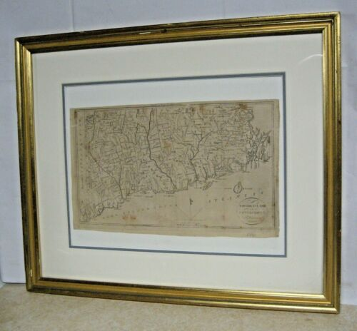 Antique Map Rhode Island & Connecticut H.Harris c.1796 Boston Thomas & Andrews