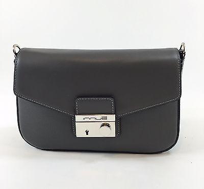 Innue Italian Small Grey Leather Womens Messenger Handbag with Chrome Hardware