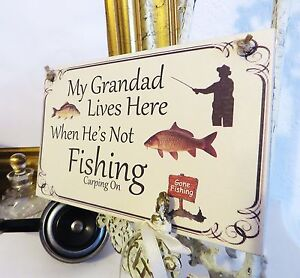 Grandad CARP Fishing Wooden Sign plaque Fathers Dad gift Gone Fishing
