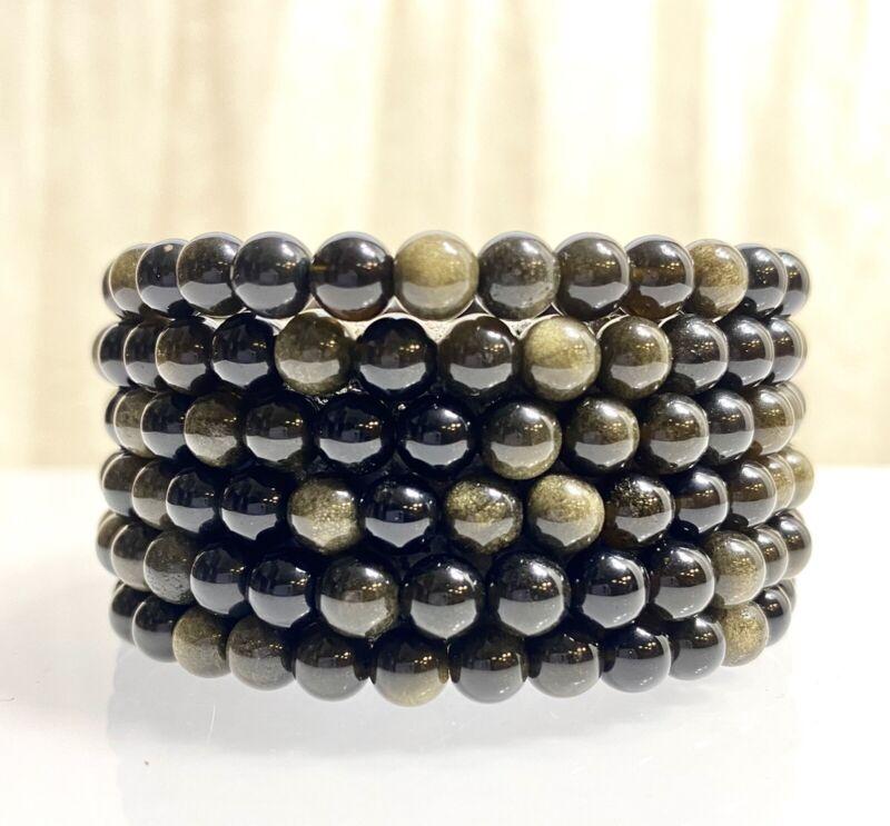 "Wholesale Lot 6 Pcs Obsidian With Gold Sheen 6mm 7.5"" Crystal Stretch Bracelet"