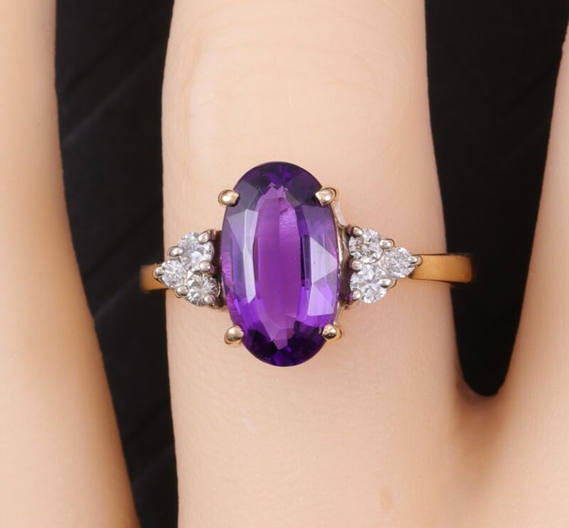Elegant Estate 14k Yellow Gold Siberian Amethyst & Diamond Ring 3 Carats