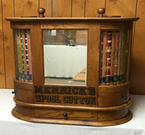 COUNTRY / GENERAL STORE TWIN TURBINE MERRICK SEWING THREAD SPOOL CABINET  - 1897