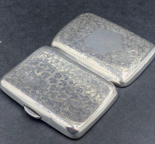 Hand engraved english sterling silver cigarette case Birmingham 1908