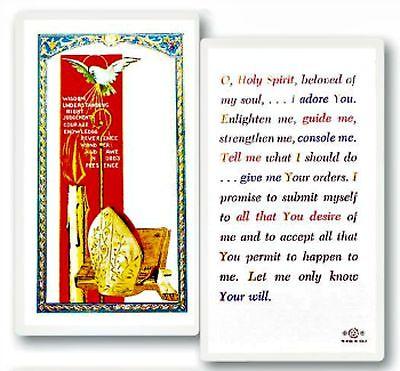 Holy Spirit Confirmation Laminated Prayer Card NEW Catholic -