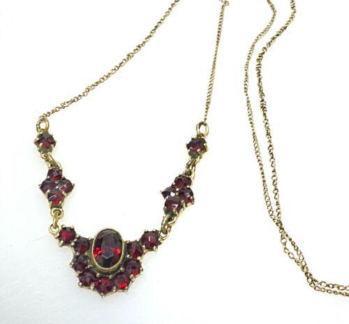 Antique Victorian Rose Cut Bohemian Garnet Dangle Lavalier Gilt Necklace Vtg