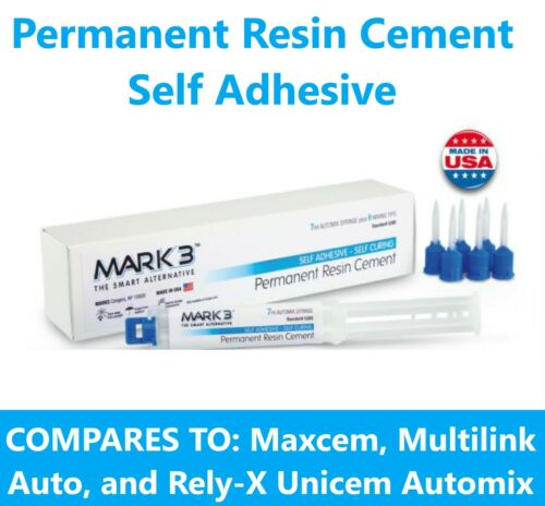 Permanent Resin Cement, Self Adhesive 7 ml Automix Syringe with 6 Tips - Mark3