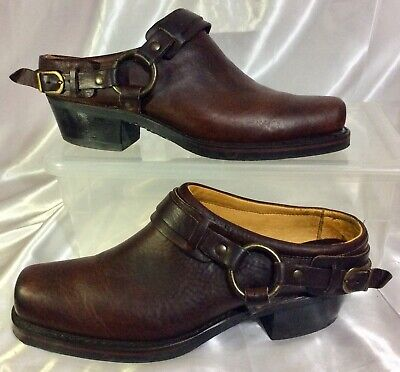 Brown Shoe Leather Belt (FRYE Brown Leather Western Belted Harness Mules Slides Shoes Women's Sz 10M)