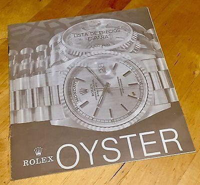 ROLEX Price List 1990 SPAIN Daytona Zenith 16520 16523 16570 16700 16610 16600