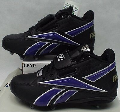 New Mens 8 Reebok RBK NFL Thorpe Mid D Strap Black Purple Football Cleats Shoes Strap Mid Football Cleat