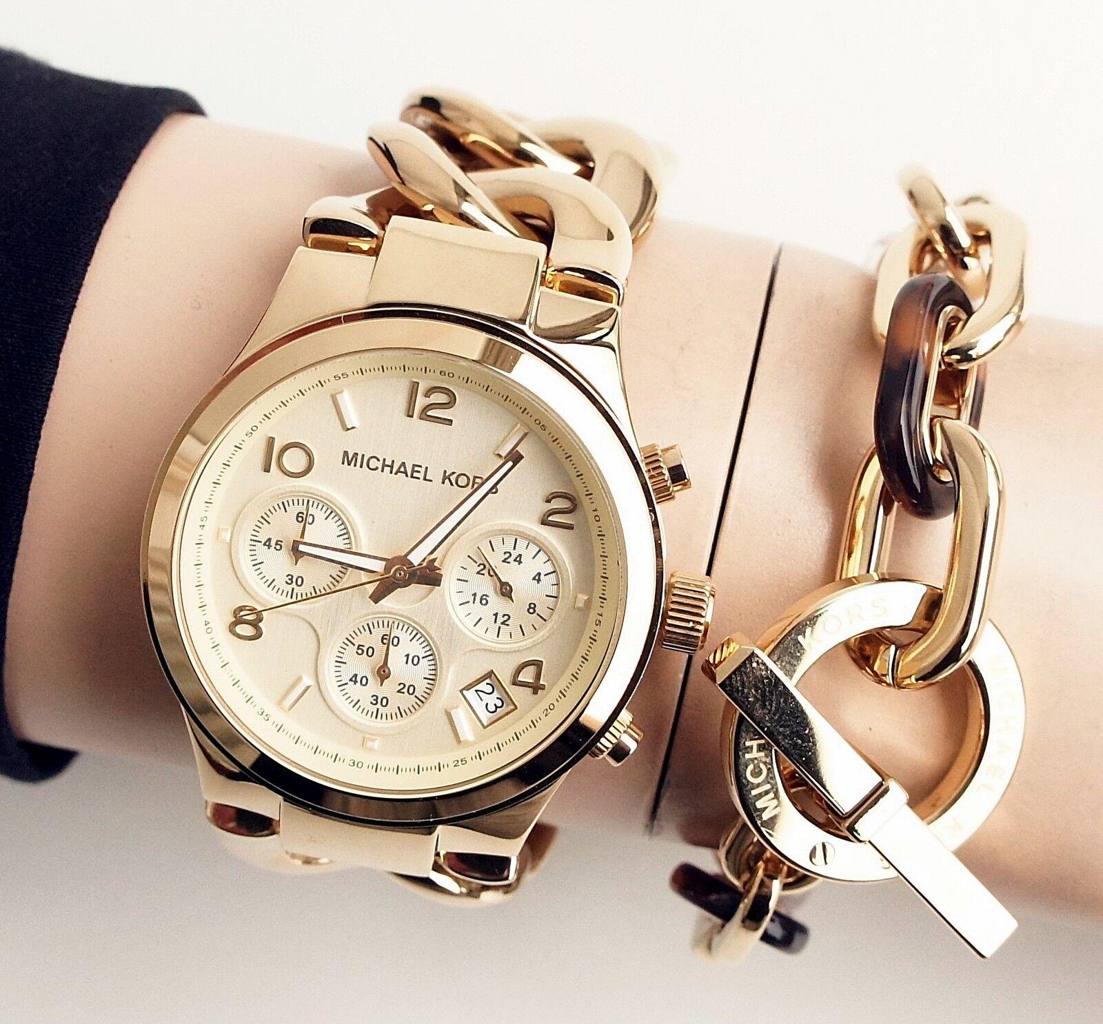 Original Michael Kors Uhr Damenuhr MK3131 RUNWAY TWIST Farbe:Gold NEU