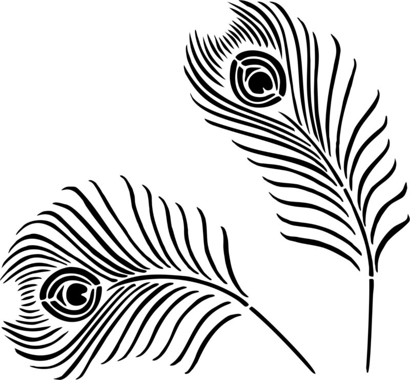 Peacock Feather Stencil (Set of 4 Stencils)