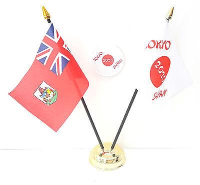 Bermuda & Tokyo Japan Olympics 2020 Friendship Desk Flags & 59mm BadgeSet
