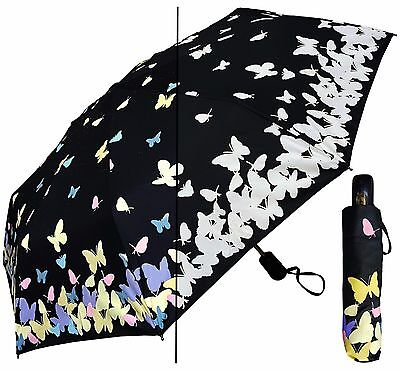 "44"" Color-Changing Butterfly Auto-Auto Mini Umbrella-RainStoppers Rain/Sun UV"