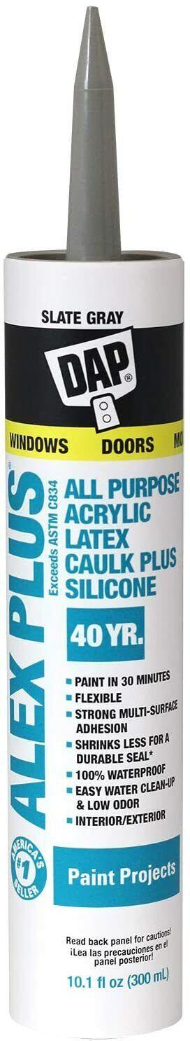 Dap 18110 Acrylic Latex Caulk With Silicone, 10.1-Ounce, Sla
