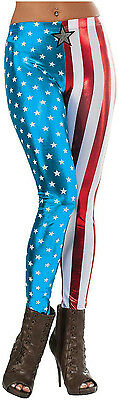 Shiny Patriotic Women's Marvel Universe Captain America Adult Metallic Leggings (Patriotic Costumes For Women)