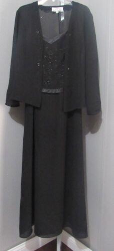 erica hannah 2 piece jacket dress black size 8 nwt