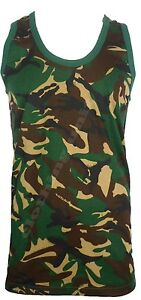MENS CAMOUFLAGE SLEEVELESS COTTON VEST ARMY TRAINING COMBAT GYM RUNNING MUSCLE