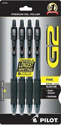 Pilot G2 Retractable Gel Ink Roller Ball Pens Fine Point Black Ink 4 Ea