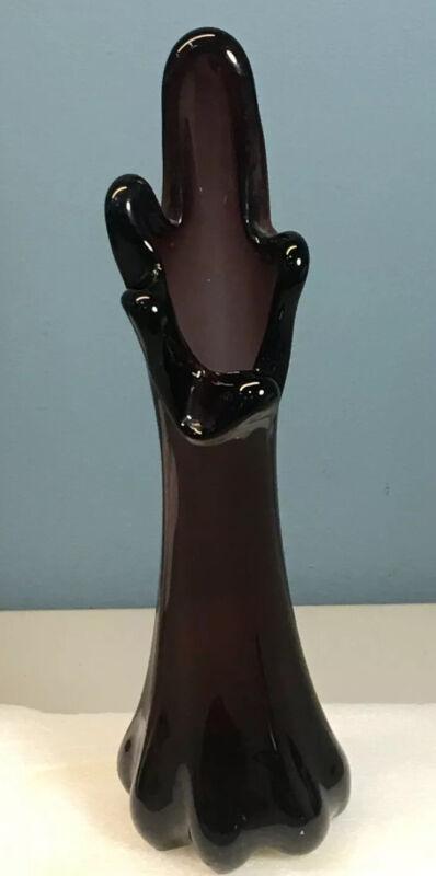 "Vintage Murano Glass Stretch Swung 10"" Amethyst Purple Vase"