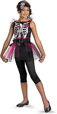 Ballerina Halloween Costume Child (Girls Skeleton Ballerina Costume Skull Bones Dancer Tutu Childs Halloween)