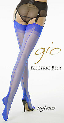 Gio Fully Fashioned Stockings - ELECTRIC BLUE - Imperfects - from NYLONZ