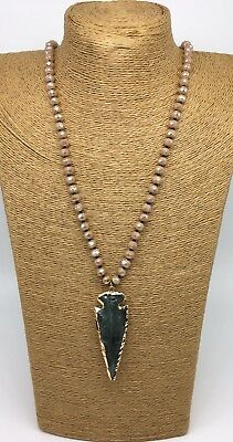Fashion Knotted Tribal Crystal Necklace Resin Arrowhead Pendant For Women Gift