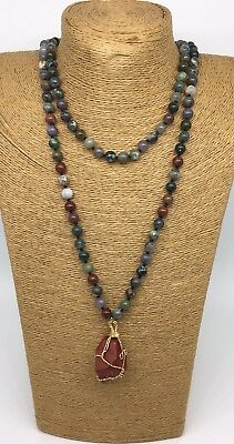 - Fashion semi precious long knot green agate bloodstone Natural Pendant Necklace