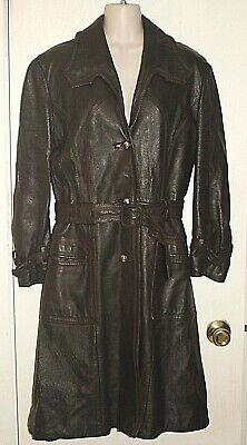 BELLA VARDA VINTAGE Trench Coat Womens Genuine Leather Long Brown  Sz 12 *VG Bella Leather Coat