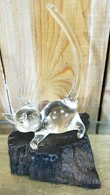Vintage Hand Blown Clear Art Glass Cat on Burl Wood Base EUC