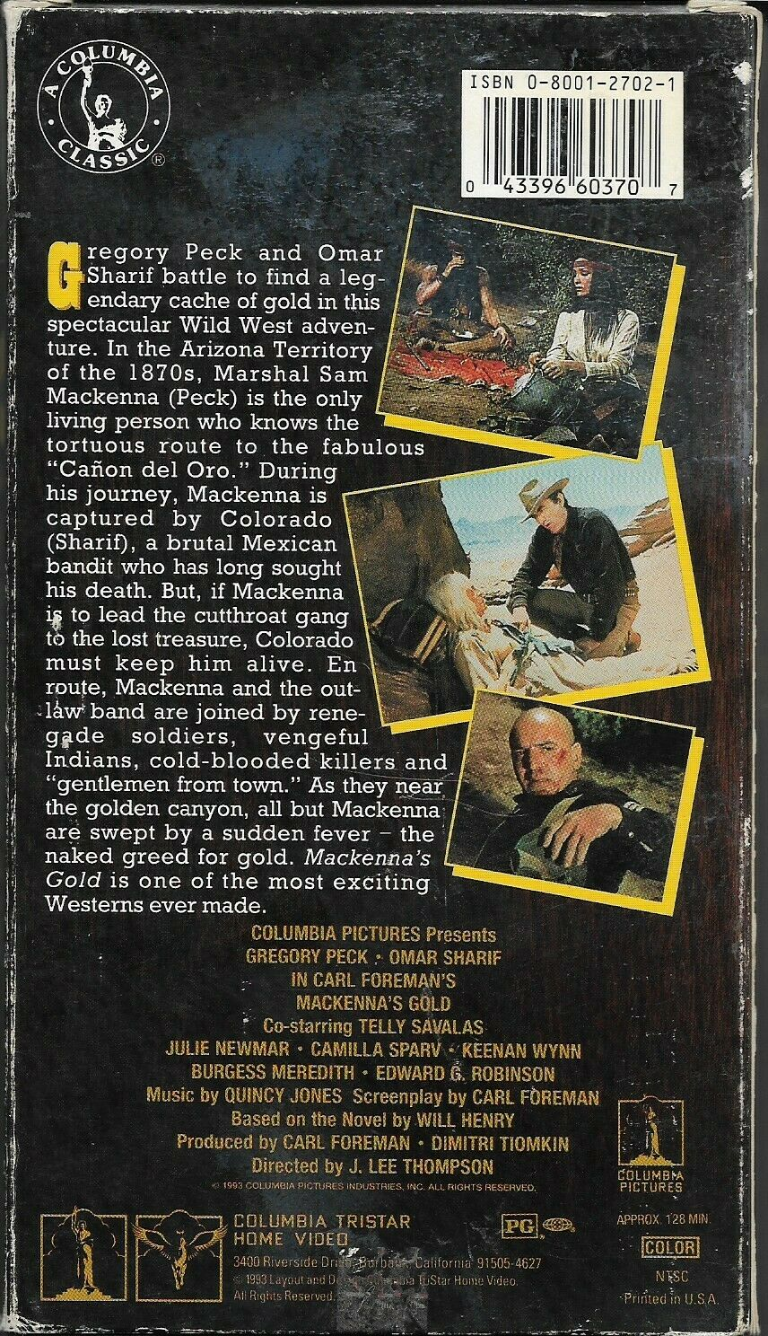 MACKENNA S GOLD VHS, 1993 Classic Western-Mystery Film Gregory Peck Rare, G - $2.00