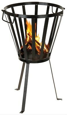 Black Metal Fire Pit Brazier Log Wood Burner Basket Outdoor Patio Heating