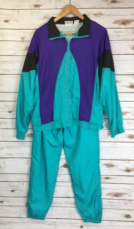 Vintage Longstreet Windbreaker Suit Teal Purple Color Block Jacket Pants Sz M