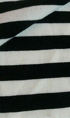 WHITE AND BLACK SRTIPED STRETCH SWEATER KNIT FABRIC