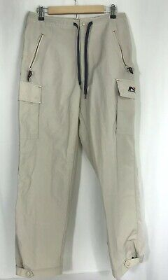 Nautica Sport Tech Mens Pants Khaki Activewear Cargo Drawstring Zipper Medium
