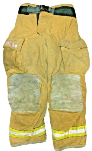 36x32 Globe Gxtreme Brown Firefighter Turnout Pants with Yellow Tape P1236