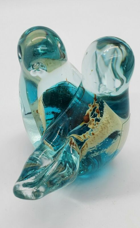 Mdina Glass Malta Love Birds Figurine Blue and Clear with accent - signed