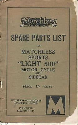 Matchless Sports Light 500 Spare Parts List 1933 NOT illustrated