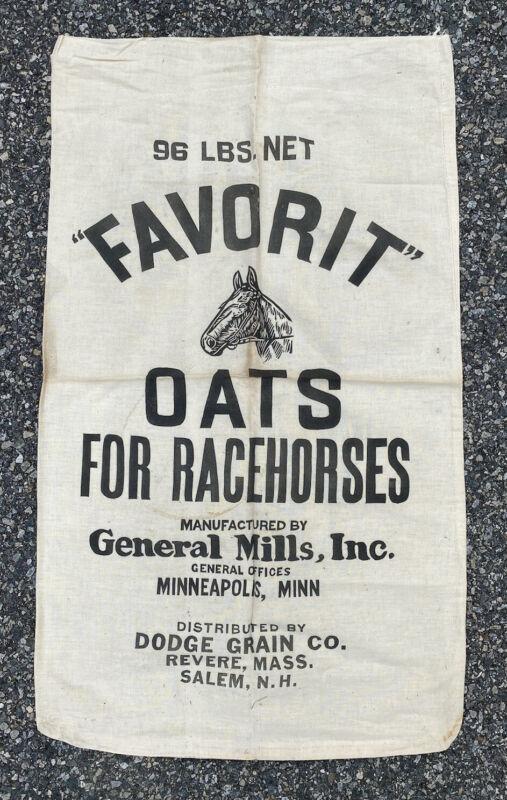 Vintage Cotton Feed Sack, Large, Feedsack Bag Favorit Oats for Racehorses