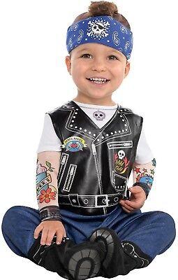 Baby Jungen Kleiner Biker Punk-Rock Karneval Kostüm Kleid Outfit 6-24 - Punk Rock Kostüm Junge