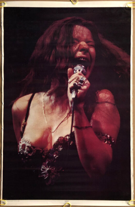 Janis Joplin Original Vintage Poster Solo On Stage Microphone 1971 Pin Up