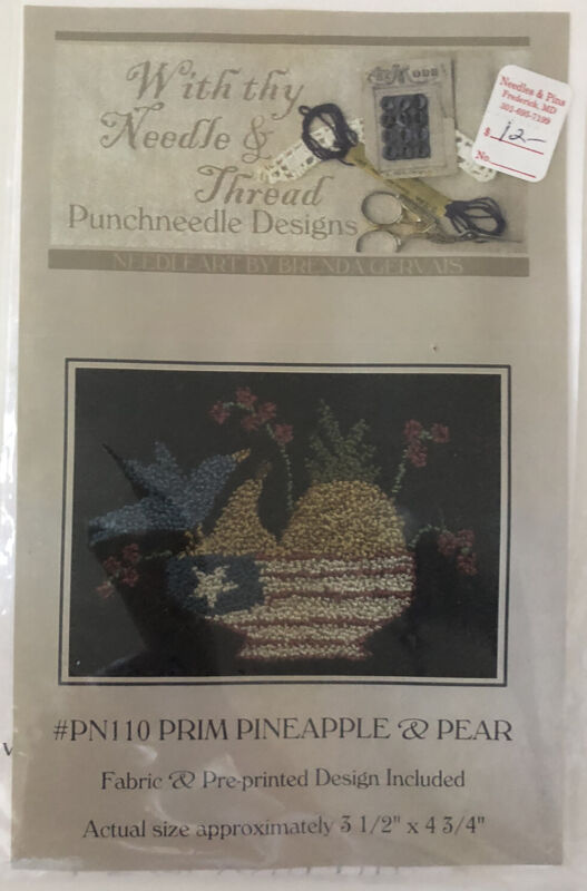 Punchneedle Embroidery Pattern Kit - Pineapple And Pear Small Picture